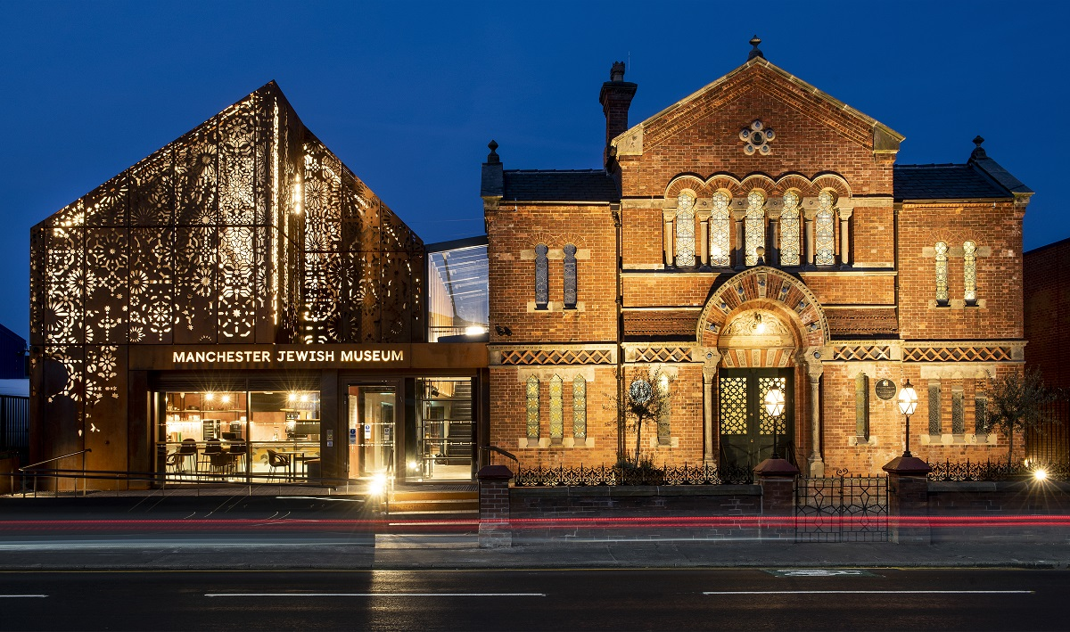 Manchester Jewish Museum at night, photo by Joel Chester Fildes